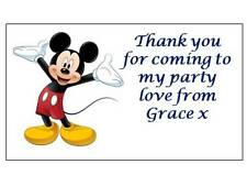 42 Personalised Mickey Mouse Stickers 3 for 2 Thank you Party Seal Birthday