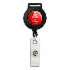 Keep Calm And Cook On Chef Hat - Lanyard Retractable Reel Badge ID Card Holder