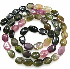 "ALL NATURAL MULTI TOURMALINE SMOOTH OVAL BEADS 14.5""  T10"