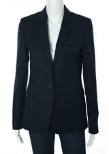 MASSIMO DUTTI Dark Blue Wool Collared V Neck Blazer Sz 8
