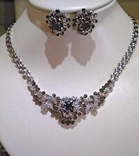 Clear & Smoky Crystal Necklace and Matching Earring Set
