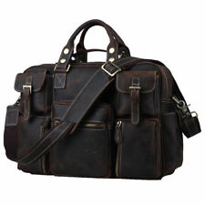 "New Wild Style Luggage Large Capacity 16"" laptop bag Brown Travel leather Tote"