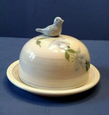 Hand Thrown Painted Pottery Butter Muffin Dish Covered Dome Bird Pull Signed Owl