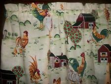 Rooster Chicken Farm Barn country kitchen fabric window curtain topper Valance