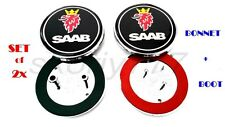 Set of 2x Saab 9-5 9-3 Black Front / Back Boot / Bonnet Emblem Badge Symbol Logo