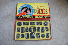 Old Vintage 1940 Gilbert Puzzles Parties #1032 Mind Brain Teaser Toys Games box