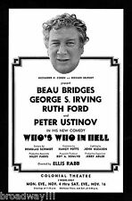 """Beau Bridges """"WHO'S WHO IN HELL"""" Peter Ustinov 1974 Boston Tryout FLOP Flyer"""