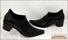 ♥ SAN MARINA ♥ Boots Taille 35 Cuir Noir Étalon !