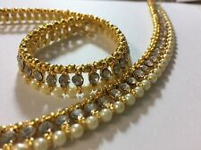 Quality Pair Of Ankle Anklet Payal Gold Plated White Pearl Kundun Party Bridal