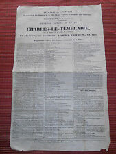 RARE affiche originale 1841 premier fête d' ARRAS - CHARLES LE TÉMÉRAIRE (ref 22