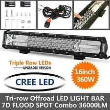 """7D Tri-row 16""""inch 360W CREE LED Work Light Bar Combo Offroad 4WD UTE SUV Truck"""