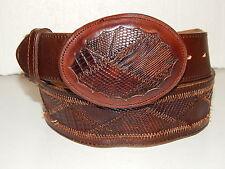 Nocona Men's Brown LIZARD SKIN Cowboy Western Leather Belt & INLAY Buckle 34-36