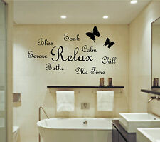 Soak Relax Bathe Wall Art Sticker Quote Bathroom Bubbles Toilet Splish Splash