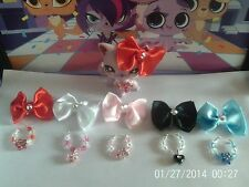 Accesorios para Littlest Pet Shop Cat collares y Swarovski arco Lps no incluyen
