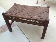 Antique Mission Arts and Crafts Oak Bench Footstool  Woven Seat