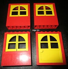 Lego 6236 Windows fenêtre x3 + 6235 Door Porte Red rouge and Yellow Jaune MOC
