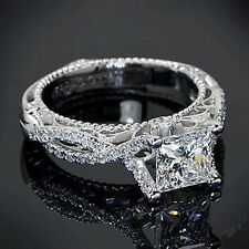 New Designer 2.67 Cts Princess cut 92.5 Sterling silver Engagement Ring ...