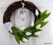 EASTER SPRING SUMMER WREATH HANDMADE SILK TULIPS FLOWERS DECORATION