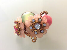 Vintage Signed MIRIAM HASKELL Gold Green Pink Blue Rhinestone Glass BROOCH PIN