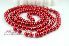 *110pcs Pearl Beads 8mm Dark Red Imitation Acrylic Round Loose Pearl Spacer*