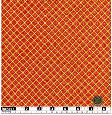 Quilting Fabric Scarlet Red Diamond Shapes Yellow Gold Fat Quarters 100% Cotton