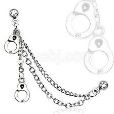 Clear Double Chained Cartilage Earring with Handcuffs