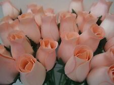 100 PEACH WOODEN ROSES WHOLESALE ARTIFICIAL FLOWERS WEDDINGS CRAFTS HOME DECOR