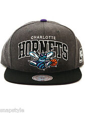 NEW NBA CHARLOTTE HORNETS - MITCHELL & NESS - HEATHER GREY ARCH SNAPBACK HAT