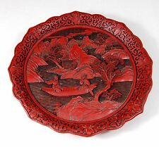 """OLD CHINESE Carved CINNABAR Decorative Plate, Men in Boat, 7.5"""",  Signed"""