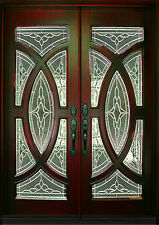 "Mahogany Exterior Front Wood Double Entry Door 705B 36""X80""X2"