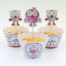 24 PCS GIGGLE & HOOT HOOTABELLE CUPCAKE TOPPER & WRAPPERS/ PARTY SUPPLIES
