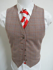 Sz M Brown/White/Blue Plaid VTG MENS REVERSIBLE Poly #37C Suit Vest Waistcoat