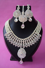 Indian Bollywood Style Designer Crystal Bead Bridal Fashion Jewelry Necklace Set