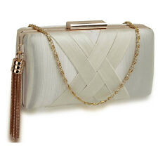 Satin Medium Ladies Bridal Clutch Baguette Hard Compact Women Evening Prom Bags
