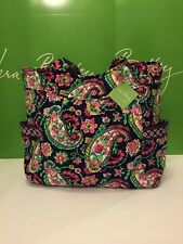 NWT Vera Bradley Pleated Tote Shoulder / Hand Bag In Petal Paisley
