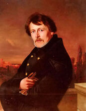 Oil painting Adolf Schmidt - a portrait of a gentleman, rome in the distance art