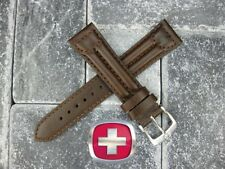 New 20mm SWISS ARMY CAVALRY MILITARY Brown Calf Leather Strap Watch Band 20