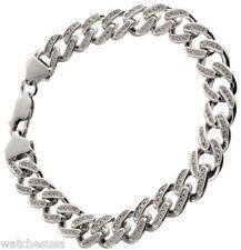 """Sterling Silver Men's Cz Wrist Bracelet 8.25"""" long & 11mm Wide"""