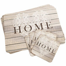 4 Square Wood Brown Table Mats Coasters Place Settings Shabby Chic Home Heart