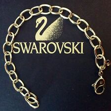 GENUINE SWAROVSKI® RHODIUM PLATED CHARMED CHAIN BRACELET SWAN SIGNED