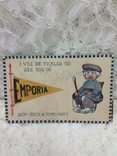 "Vintage Postcard ""I vill be tickled to see you in Emporia"" Kansas 1919"