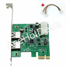 2 Port USB 3.0 HUB to PCI-E Express Card Adapter w/4 Pin Power Cable
