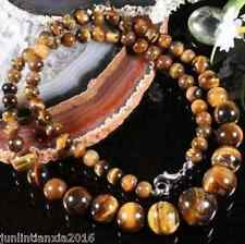 NATURAL 6-12MM GENUINE TIGER EYE GEMS STONE ROUND BEADS NECKLACE 18""
