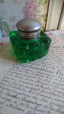 SUPERB ANTIQUE FRENCH HEAVY GREEN GLASS INKWELL c1890 PAPERWEIGHT INKWELL