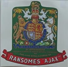 Ransomes Ajax Mark 3 Vintage Mower 'The Late King George VI'  Repro Decal