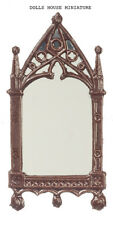 Cathedral Mirror Frame Finished in Brown Paint, Doll House Miniature,