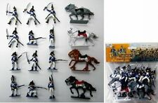 Napoleonic Waterloo French Soldiers & Cavalry Painted Figures Set 45 NEW in BAG!
