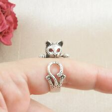 Antique Silver Plated Cute Curious Cat Ring Size N - Adjustable