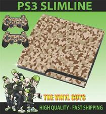 PLAYSTATION PS3 SLIM DESERT CAMOUFLAGE CAMO ARMY STICKER SKIN & 2 PAD SKINS