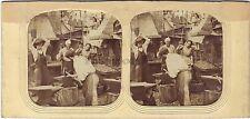 Forgerons Scène de genre Stéréo Diorama Stereoview Tissue ca 1865